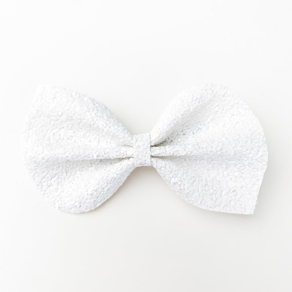 Pure White Chunky Glitter Large Reese Bow