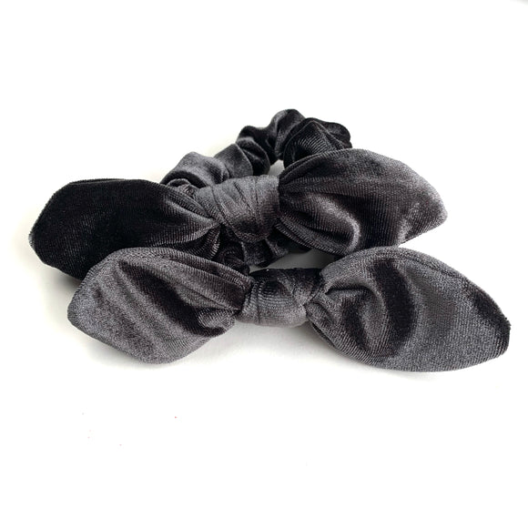 Charcoal Velvet- Bunny Ears - Scrunchie