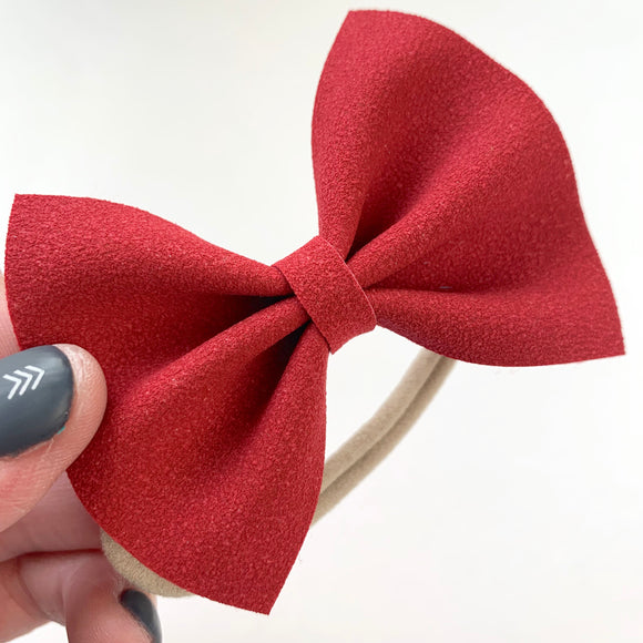 Red Suede Delilah Bow