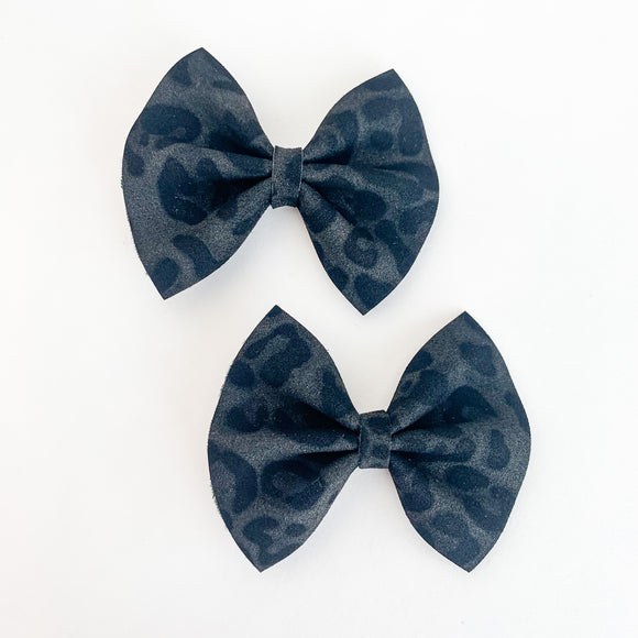 Suede Leopard Mini Delilah Bows (Set of 2)