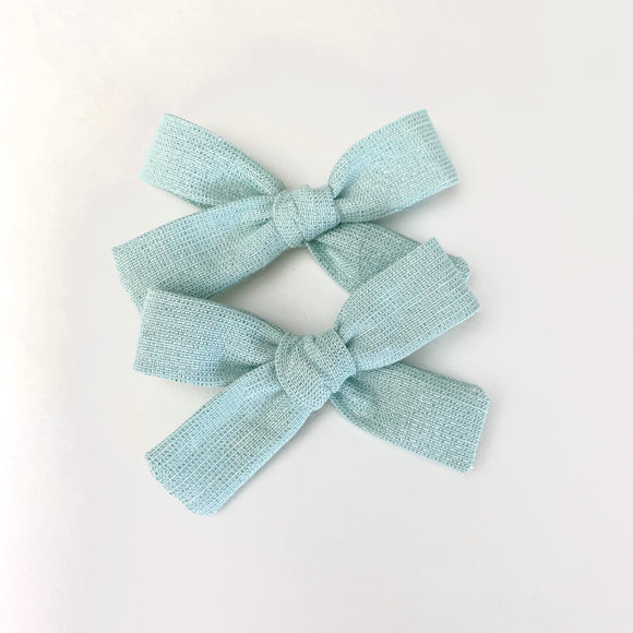 Mint Glitter Laced Linen Mini Isabella Bows (Set of 2)