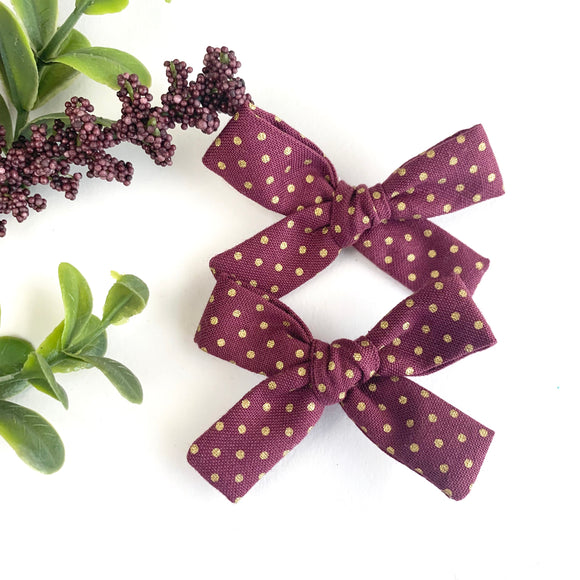Maroon + Gold Dot Mini Isabella Bows