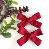 Harvest Red Linen Mini Isabella Bows