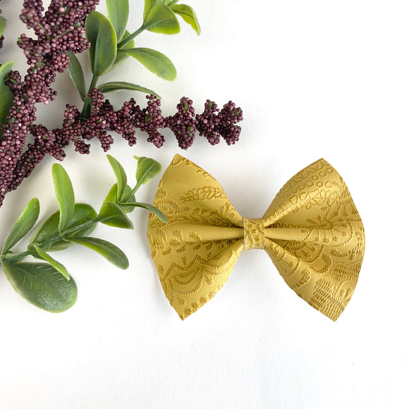 Mustard Embossed Delilah Bow (2 Sizes)