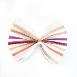 Fall Watercolor Stripe Delilah Bow