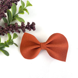 Harvest Orange Suede Large Reese Bow