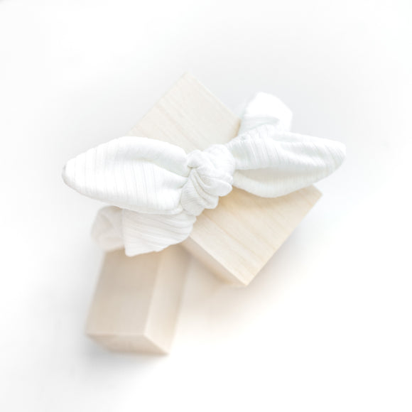 White Ribbed - Bunny Ear Scrunchie