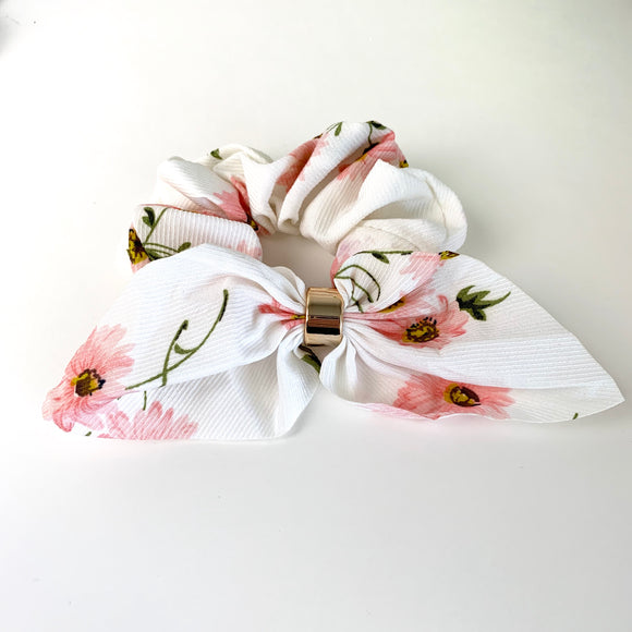 White Ribbed Floral- Fancy Scrunchie