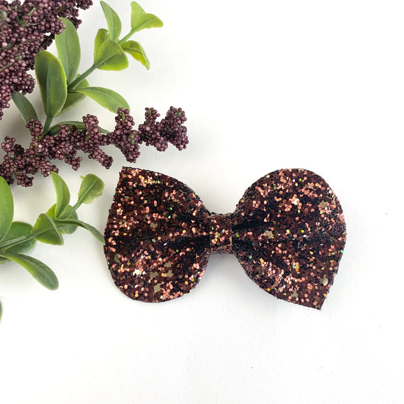 Brown Glitter Large Reese Bow