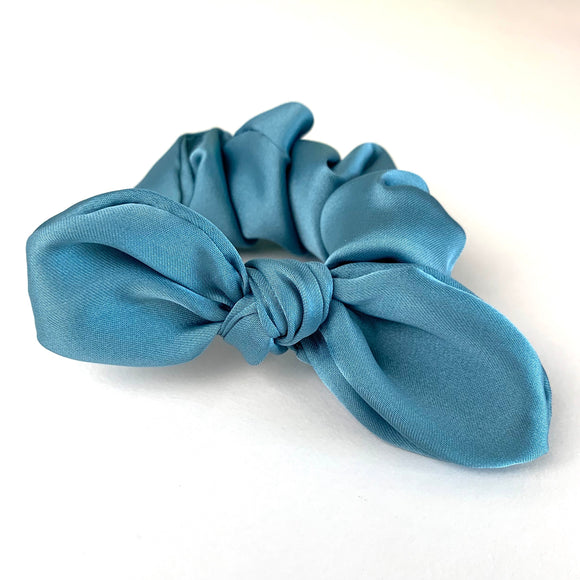 Teal Satin- Bunny Ears - Scrunchie