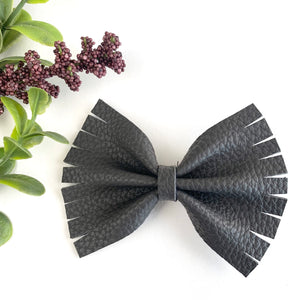 Charcoal Textured Large Caroline Bow