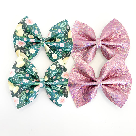Botanical Lemon Floral Mini Bow-Set of 2 (4 bows)