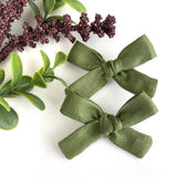 Olive Green Linen Mini Isabella Bows