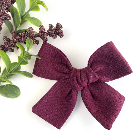 Boysenberry Linen Isabella Bow