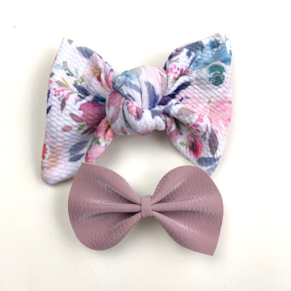 Watercolor Floral Bow Set of 2
