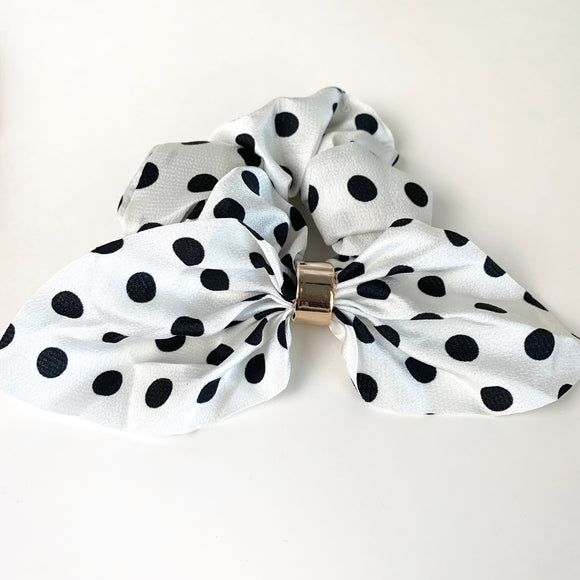 Black and White Dot - Fancy Scrunchie
