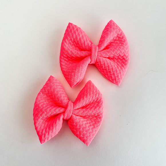Neon Pink Mini Brooke (Set of 2 or Headband)