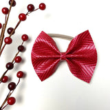Red Embossed Large Delilah Bow
