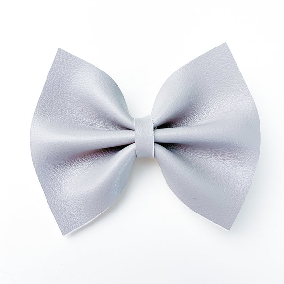 Elephant Grey Smooth Small Delilah Bow