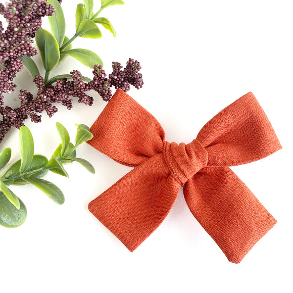 Harvest Orange Linen Isabella Bow