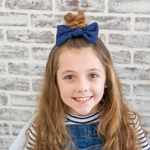 Navy Bubble Textured Samantha Bow