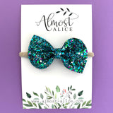 Peacock Glitter Reese Bow (2 sizes)