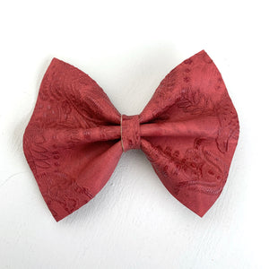 Vintage Red Embossed Medium Delilah Bow