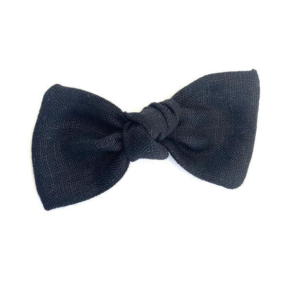 Black Linen Sydnee Bow