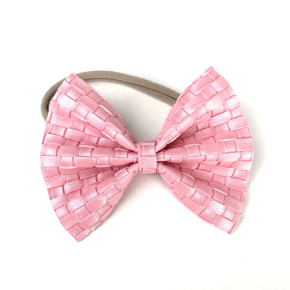 Pink Basket Weave Large Delilah Bow