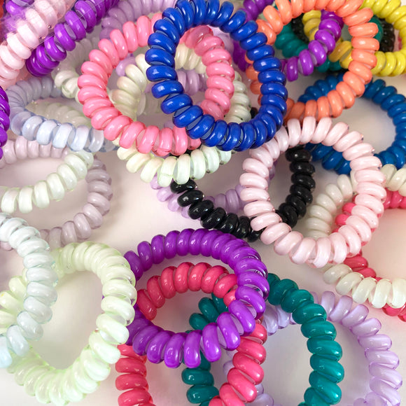 Plastic Spiral Twisted Hair Ties (5 Random)