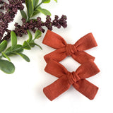 Harvest Orange Linen Mini Isabella Bows