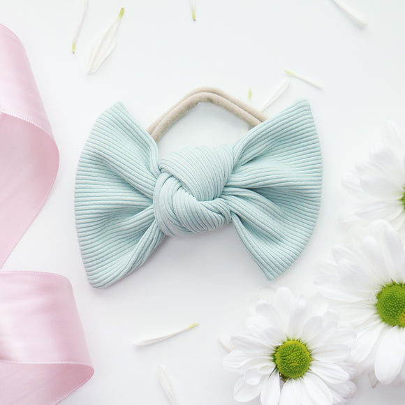 Seafoam Ribbed Samantha Bow