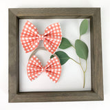 Coral Plaid Delilah Bow