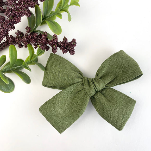 Olive Green Linen Isabella Bow