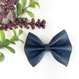 Navy Embossed Delilah Bow (2 Sizes)