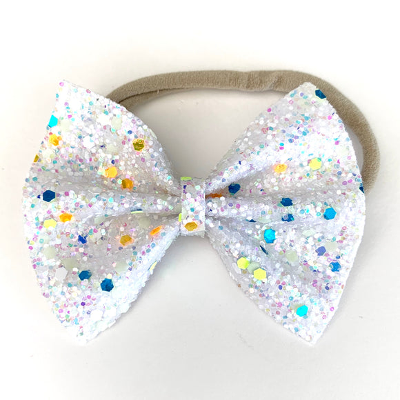 White Glow in the Dark Glitter Delilah Bow