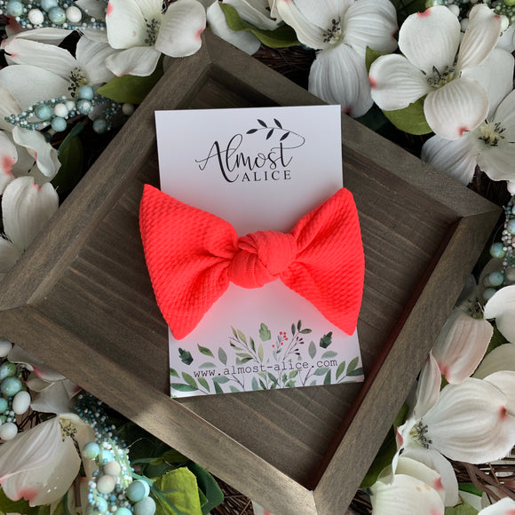 Hot Coral Textured Samantha Bow