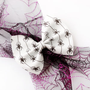 Creepy Spiders Medium Delilah Bow (Glow in the Dark)