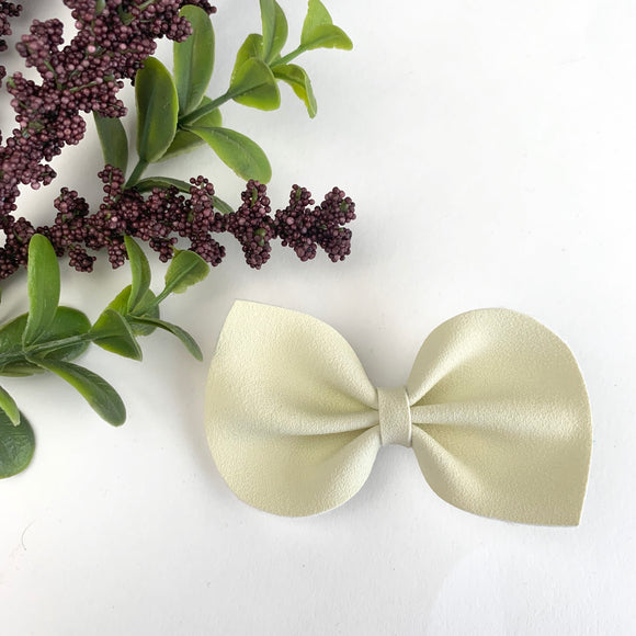 Buttercream Suede Large Reese Bow