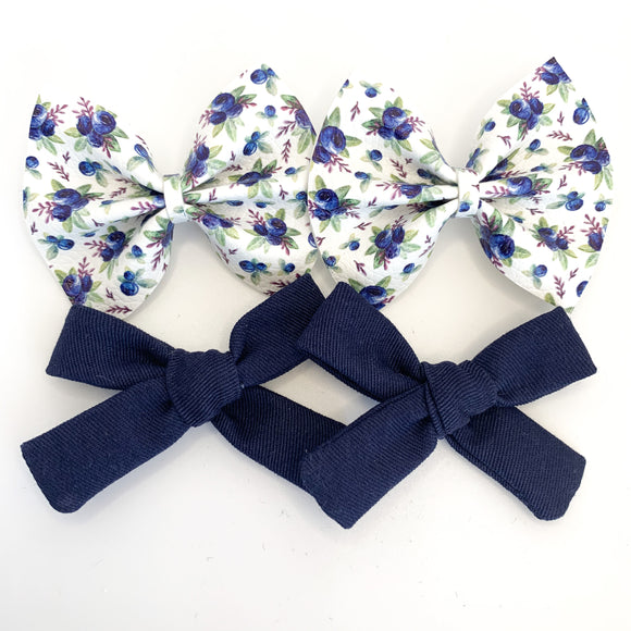 Blueberry Blossoms Mini Bow-Set of 2 (4 bows)
