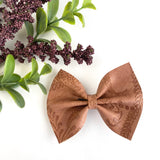 Saddle Brown Embossed Delilah Bow (2 Sizes)