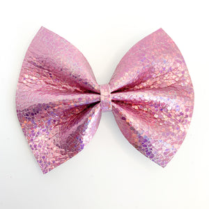 Pink Disco Holographic Large Delilah Bow