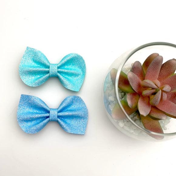 Iridescent Blue Felt Reese Bow Collection