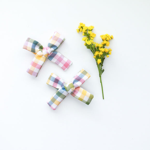 Spring Plaid Mini Isabella Bows (Headband or Clip)