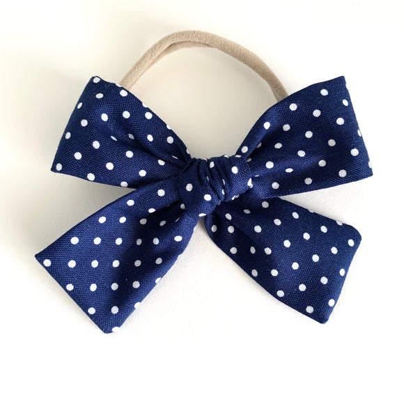 Navy Small Dot Isabella Bow