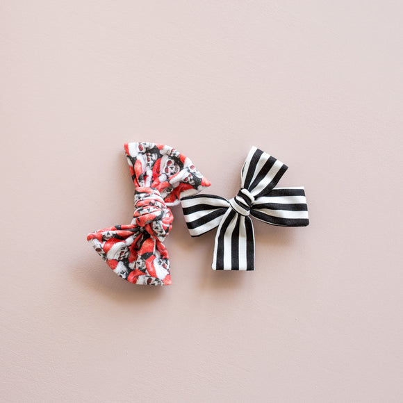 Santa Skulls Bow Set of 2 (Headbands or Clips)