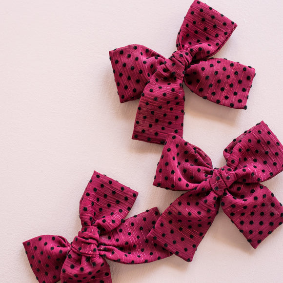 Sheer Maroon Swiss Dot Isabella Bow