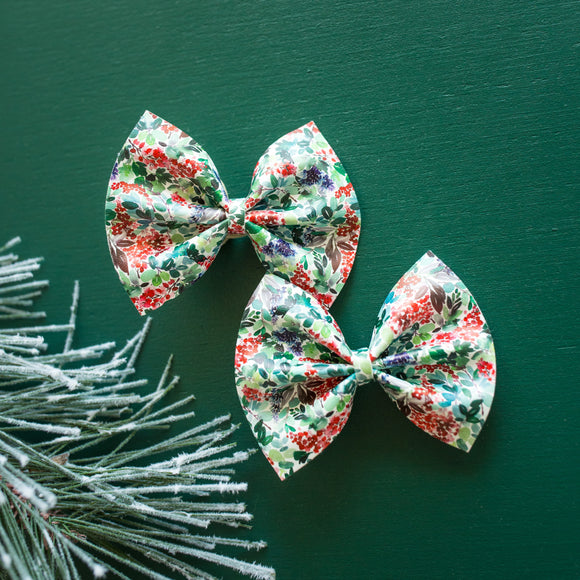 Winter Berry Foliage Delilah Bow (Headband or Clip, 2 Sizes)