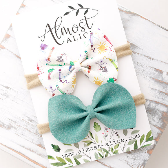 Pre-School Doodles Bow Set (2 Bows)