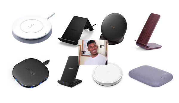 Man looking confused surrounded by wireless chargers